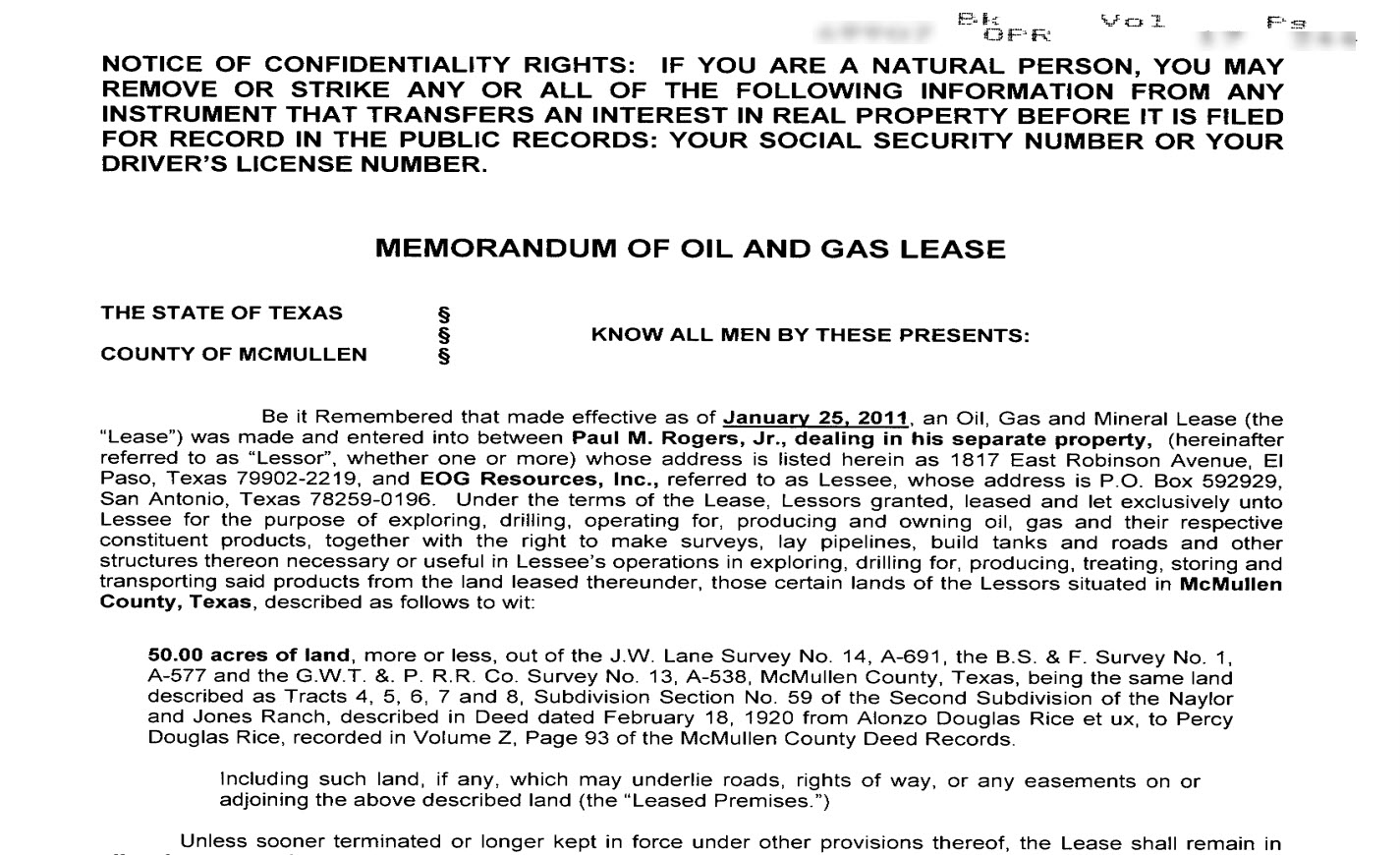 Memorandum of Oil and Gas Mineral Lease that could be produced in eQuisition